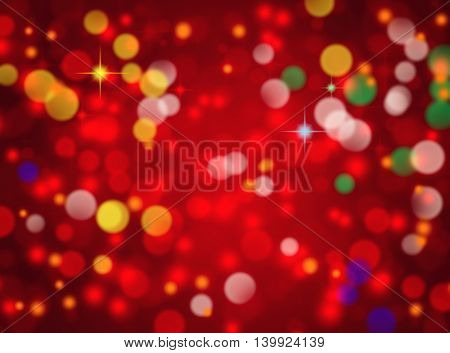 Abstract red holiday bokeh background with lights