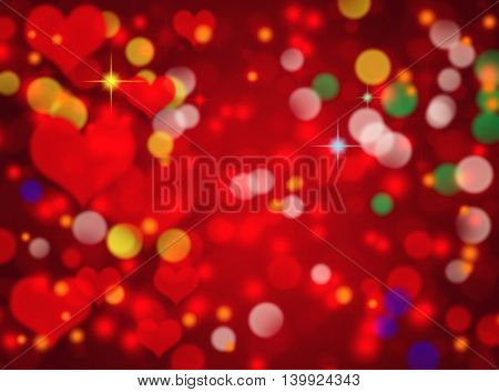 Abstract red bokeh background with heart shape