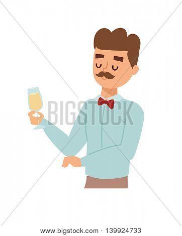 Man wine glass vector illustration.