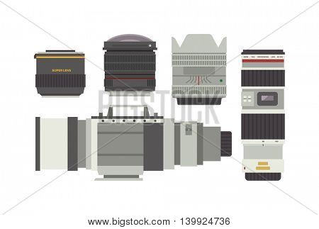 Photo optic lenses vector set.