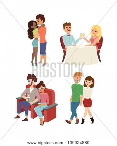 Dating couple vector set.