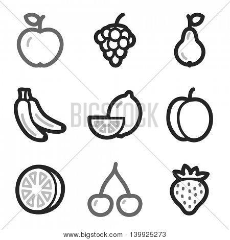 Fruits mobile icons set, vector symbols.