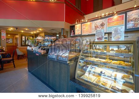 MOSCOW, RUSSIA - JUNE 26, 2016: inside of Costa Coffee. Costa Coffee is a British multinational coffeehouse company. It is the second largest coffeehouse chain in the world behind Starbucks.