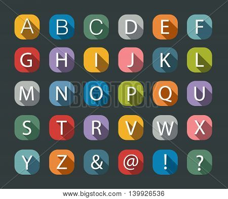 Flat icons alphabet on the black background. Vector illustration