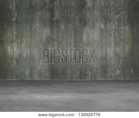 Empty Room Interior With Wooden Wall And Concrete Floor