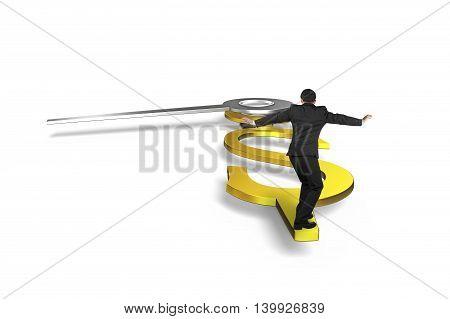 Man Balance On Clock Hands In Usd Dollar Sign