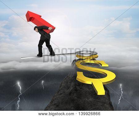 Man Carry Red Arrow Balance At Clock Hand Edge