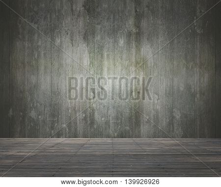 Empty Room Interior With Wooden Wall And Floor