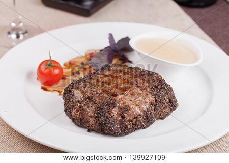 grilled fillet steak on an plate