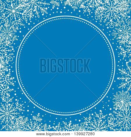 Winter frame with arabesques and snowflakes. Fine greeting blue and white card