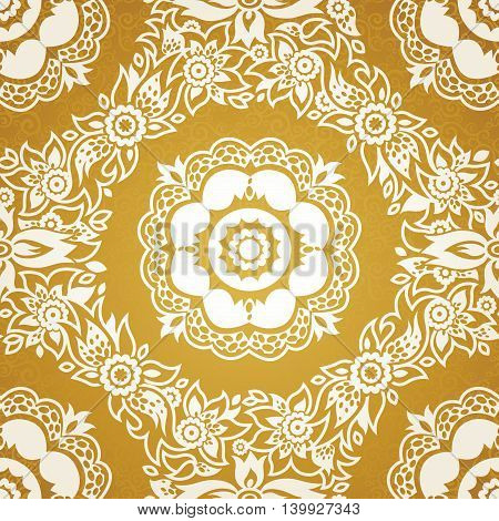 Contrasting seamless pattern with large flowers curls and leaves. White lace ornament on a gold background. It can be used for wallpaper pattern fills web page background surface textures.