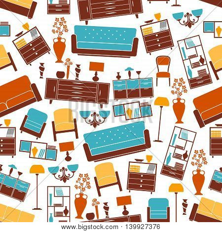 Furniture seamless pattern. Room interior vector elements background. Vintage and classic home accessories. Sofa, chair, armchair, lamp, bookshelf, vase, locker flower elements