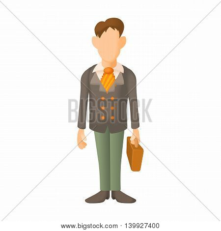 Man in suit icon in cartoon style isolated on white background. People symbol