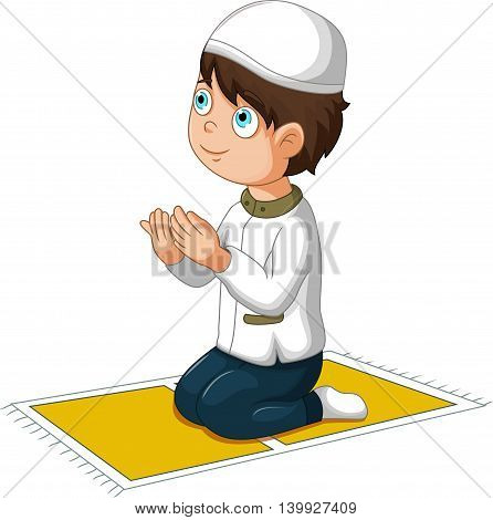 cute boy cartoon praying for you design