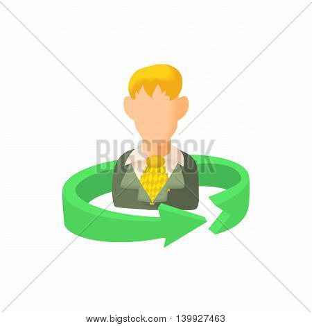 Replacement employee icon in cartoon style isolated on white background. Search symbol