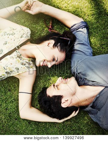 Couple Grass Smiling Love Concept