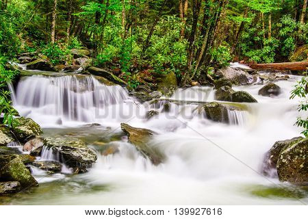 cascades in the Smoky Mountains of Tennessee, USA.