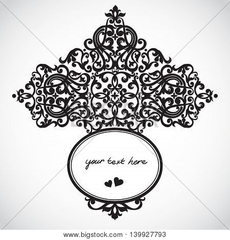 Vector baroque ornament in Victorian style. Element for design. You can place the text in an empty frame. It can be used for decorating of invitations greeting cards decoration for bags and clothes.