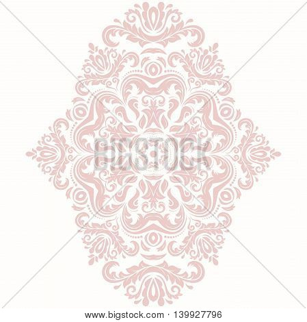 Elegant pink ornament in the style of barogue. Abstract traditional pattern with oriental elements