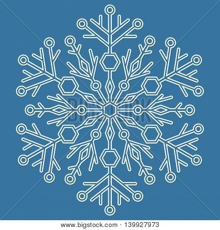 Round white snowflake with blue background. Abstract winter ornament