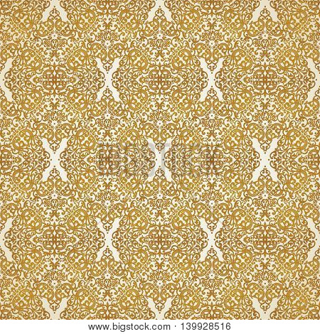 Vintage seamless pattern with lacy ornament in retro style. Golden brocade background. It can be used for wallpaper pattern fills web page background surface textures.