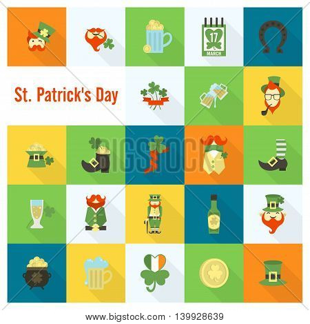 Saint Patricks Day Icon Set. Vector. Clean Work Minimum Points