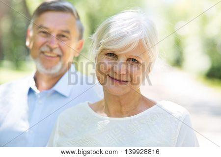 Senior couple standing outdoors