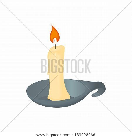 Candle icon in cartoon style isolated on white background. Illumination symbol