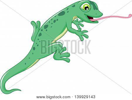 cute lizard cartoon posing for you design