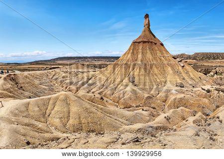 Castildetierra - geological formation in Bardenas Reales natural park Navarra Spain