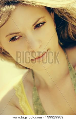 Close up of beautiful young woman