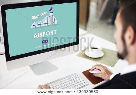 Airport Business Trip Flights Travel Information Concept