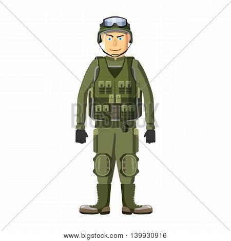 Soldier in body armor icon in cartoon style isolated on white background. People symbol