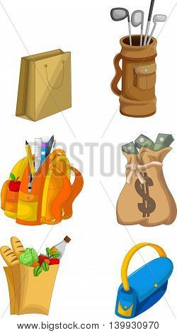 set of cute house equipment cartoon and kind vegetable
