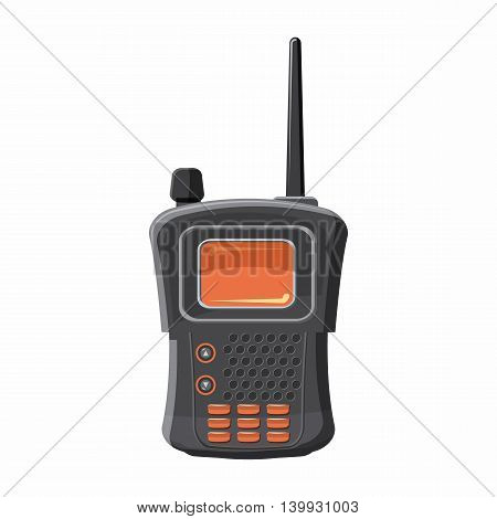 Military radio transmitter icon in cartoon style isolated on white background. Equipment symbol