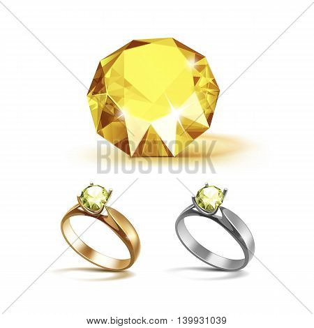 Vector Set of Gold and Siver Engagement Rings with Yellow Shiny Clear Diamond Close up Isolated on White Background