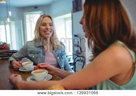 Happy young female customers communicating at counter in coffee shop