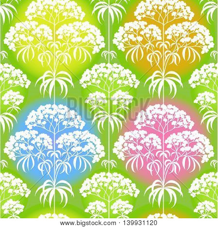 Bright spring seamless pattern with flowers and leaves. Ornamental wallpaper. It can be used for wallpaper pattern fills web page background surface textures classic fabric.