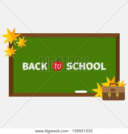 Green board with chalk on the wall. Brown schoolbag briefcase. Autumn yellow and orange maple leaf set. Flat design style. Isolated. White background. Vector illustration