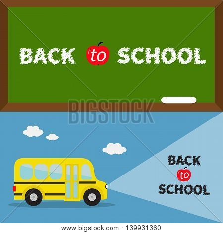 Back to school banner set. Yellow school bus. Light from headlights. Green board with chalk on the wall. Cartoon clipart. Transportation. Education collection. Flat design Vector illustration