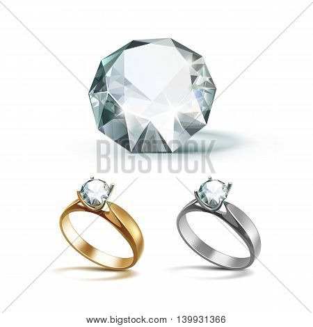 Vector Set of Gold and Siver Engagement Rings with White Shiny Clear Diamond Close up Isolated on White Background