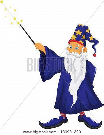 funny santa claus cartoon holding his magic stick