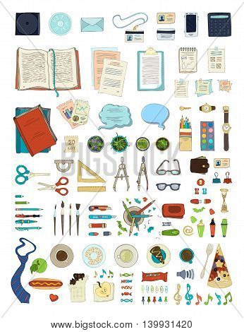 Vector Set Of Stationery Isolated On White Background.