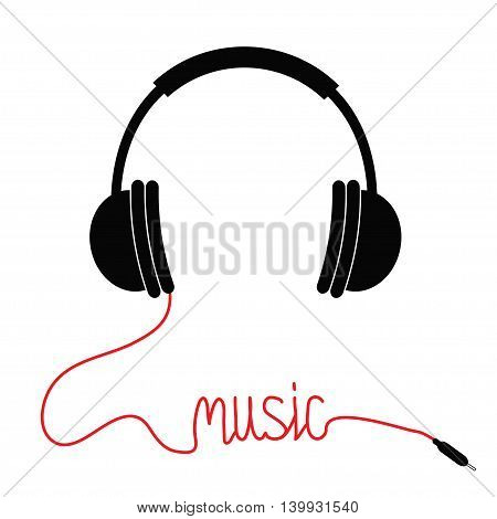 Black headphones with cord in shape of word Music. Card. Flat design icon. White background. Isolated. Vector illustration.
