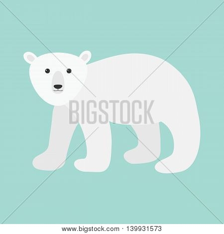 Arctic polar bear cub. Cute cartoon baby character. Flat design. Blue background. Isolated. Winter time. Vector illustration