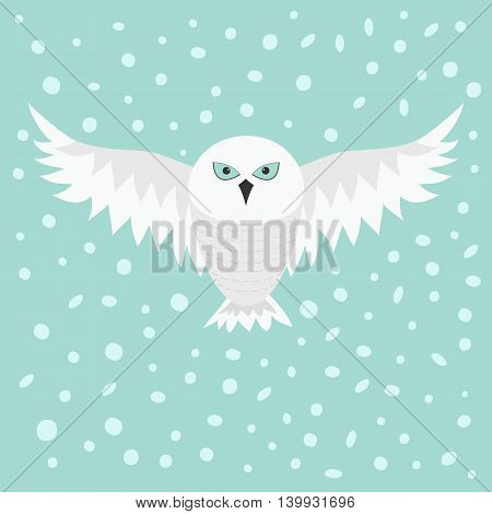 Snowy white owl. Flying bird with big wings. Blue eyes. Arctic Polar animal collection. Baby education. Flat design. Isolated. Sky background snow and snowflake. Vector illustration
