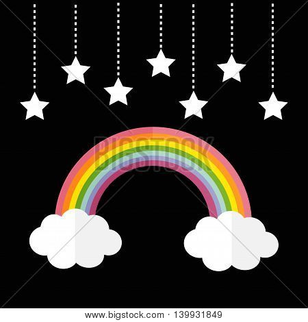 Rainbow and two white clouds. Stars hanging on dash line rope. LGBT sign symbol. Flat design. Black background. Vector illustration.