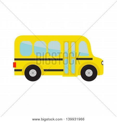 Yellow school bus kids. Cartoon clipart. Transportation. Baby collection. Side view. Flat design. Isolated White background. Vector illustration