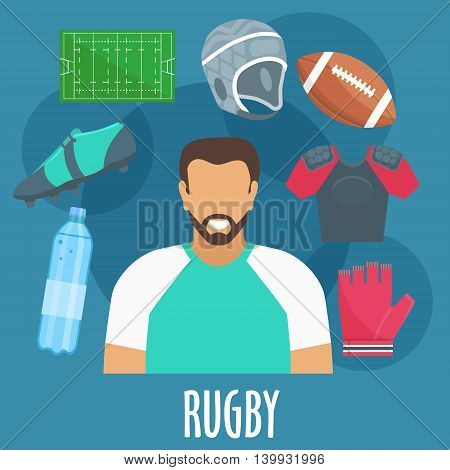 Rugby sport equipment and outfit elements. Rugby man player with accessories. Vector apparel icons of glove, bottle, ball, helmet, playing field, shirt