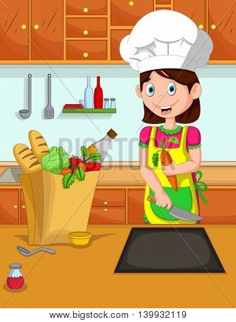 cute mom cartoon cook in the kitchen